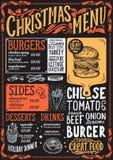 Weihnachtsmenü für Burgerrestaurant, Lebensmittelschablone Stock Abbildung