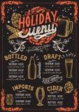 Weihnachtsmenüschablone für Bierrestaurant auf einer Tafel Vektor Abbildung