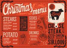Weihnachtsmenüschablone für Steakrestaurant Vektor Abbildung