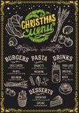 Weihnachtsmenüschablone für vegetarisches Restaurant Lizenzfreie Abbildung