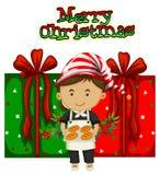 Weihnachtsmotiv mit Chef und Geschenken Stockbilder