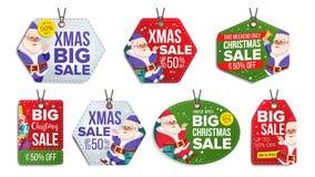 Weihnachtsmotiv-Verkauf etikettiert Vektor Schneeflocken flach Papierhängenaufkleber Weihnachtsmann _2 Feiertags-Rabatt-hängende  vektor abbildung