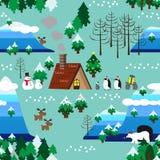 Weihnachtsmotivlandschaftsnahtloser Musterabschluß oben Lizenzfreies Stockbild