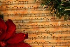 Weihnachtsmusik-Weinlesehintergrund Stockbild