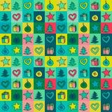 Weihnachtsmuster gefärbt mit Zeichnungsdekorationen, Geschenke, Fichte Lizenzfreie Stockfotos