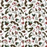 Weihnachtsmuster mit Hagebutte stock abbildung