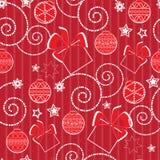 Weihnachtsmuster mit Kugeln und Geschenken Stockbilder