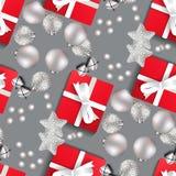 Weihnachtsmuster mit Weihnachtsspielwaren auf einem grauen Hintergrund vektor abbildung
