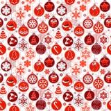 Weihnachtsmuster mit Weinlesebällen Stockbilder