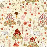 Weihnachtsmuster. Wald und Rotwild Lizenzfreies Stockfoto