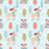 Weihnachtsmusterhintergrund mit Bären und Rotwild lizenzfreie abbildung