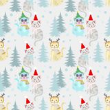 Weihnachtsmusterhintergrund mit netter Katze lizenzfreie abbildung