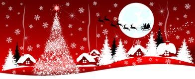 Weihnachtsnacht im Dorf Stockbild