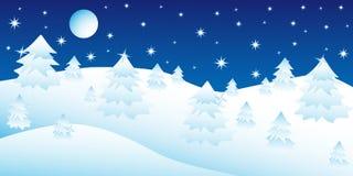 Weihnachtsnacht im Winterwald stock abbildung