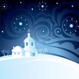 Weihnachtsnachthintergrund Stockfotos