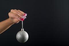 Weihnachtsnagelkunst Stockfotografie