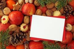 Weihnachtsnahrungsmittelhintergrund stockbild