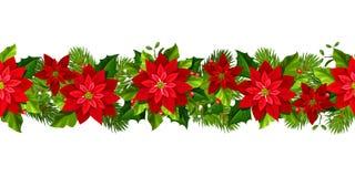 Weihnachtsnahtlose Girlande mit roten Poinsettiablumen Auch im corel abgehobenen Betrag stock abbildung