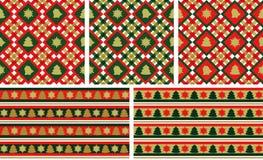 Weihnachtsnahtlose Hintergründe eingestellt Stockbild