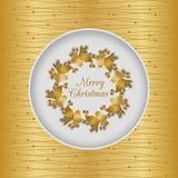 Weihnachtsnahtlose Karte mit Stechpalmenkranz, Gold Stockbilder