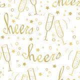 Weihnachtsnahtloser Hintergrund mit Champagner lizenzfreie abbildung