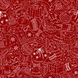 Weihnachtsnahtloser Hintergrund mit vielen Wintergekritzeln Lizenzfreie Stockbilder
