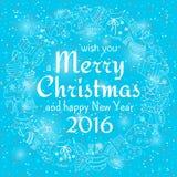Weihnachtsnahtloser Hintergrund mit vielen Wintergekritzeln Lizenzfreies Stockbild