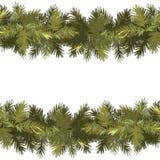 Weihnachtsnahtloser Musterhintergrund Gezierte grüne Girlande lokalisiert auf weißem Hintergrund Neues Jahr stock abbildung