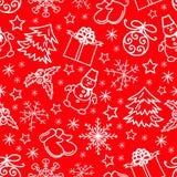 Weihnachtsnahtloser Musterzusammenfassungs-Rothintergrund Stockfotos