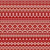 Weihnachtsnahtloses gestricktes Muster in der angemessenen Inselart Lizenzfreie Stockfotos
