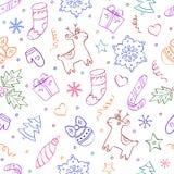 Weihnachtsnahtloses Muster auf weißem Hintergrund Lizenzfreie Stockbilder
