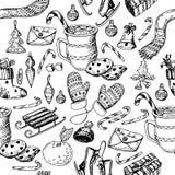 Weihnachtsnahtloses Muster, Beschaffenheit, Handzeichnungs-Skizzenillustration Vector Sammlung Skizzengegenstand für neues Jahr u stockfotos
