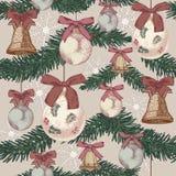 Weihnachtsnahtloses Muster in der Weinleseart Stockfotografie