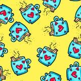 Weihnachtsnahtloses Muster eigenh?ndig gezeichnet Blaue Schale mit Herzen auf einem gelben Hintergrund Kaffee, Kakao, Zimt Neues  lizenzfreie abbildung