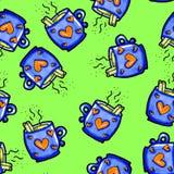 Weihnachtsnahtloses Muster eigenh?ndig gezeichnet Blaue Schale mit Herzen auf einem grünen Hintergrund Kaffee, Kakao, Zimt Neues  lizenzfreie abbildung