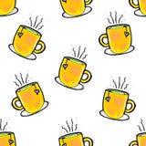 Weihnachtsnahtloses Muster eigenh?ndig gezeichnet Gelbe Schale auf einem wei?en Hintergrund Kaffee, Kakao, Zimt Neues Jahr vektor abbildung