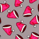 Weihnachtsnahtloses Muster eigenh?ndig gezeichnet Roter Santa Claus-Hut auf einem grauen Hintergrund Gl?ckliches neues Jahr lizenzfreie abbildung