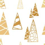 Weihnachtsnahtloses Muster Hintergrund mit goldenem Weihnachten-tre Stockbilder