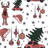 Weihnachtsnahtloses Muster im Vektor mit Feiertagszeichen und -elementen stock abbildung