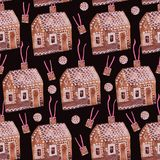 Weihnachtsnahtloses Muster ` Lebkuchenhaus ` stock abbildung