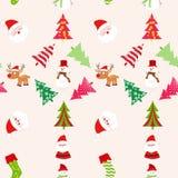 Weihnachtsnahtloses Muster mit Bäumen Stockfoto