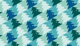 Weihnachtsnahtloses Muster mit Bäumen und Schnee Stockbild