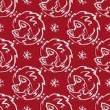 Weihnachtsnahtloses Muster mit dem Fuchsschlafen und -schneeflocke stock abbildung