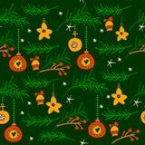 Weihnachtsnahtloses Muster mit Fichtenzweigen lizenzfreie abbildung