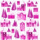 Weihnachtsnahtloses Muster mit Häusern und Bäumen Stockfoto