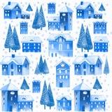Weihnachtsnahtloses Muster mit Häusern und Bäumen Lizenzfreies Stockbild