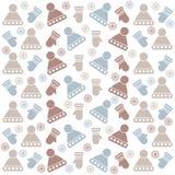 Weihnachtsnahtloses Muster mit Hüten, Handschuhen und Schneeflocken stock abbildung