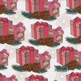 Weihnachtsnahtloses Muster mit Hand gezeichneten Geschenken in der Weinleseart Stockbild