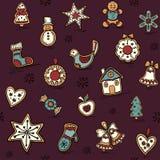Weihnachtsnahtloses Muster mit Lebkuchen Feiertagsmuster mit Weihnachtsikonen Gelbe und rote Farben vektor abbildung