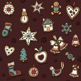 Weihnachtsnahtloses Muster mit Lebkuchen Feiertagsmuster mit Weihnachtsikonen Gelbe und rote Farben stock abbildung